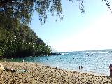 ケエビーチ。トンネルズビーチの先にあるビーチ。人がたくさんいました。魚もたくさん!