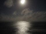 レストランのすぐ外は海。満月に近い月が海を照らしています。